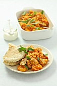Lentil stew with chicken and dried apricots