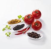 Fruchtgemüse, Gewürze und Kräuter