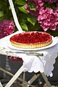 A raspberry tart on a garden chair