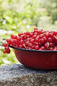A bowl of redcurrants on a stone wall