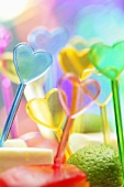 Plastic cocktail sticks with hearts