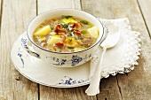 Potato soup with chanterelle mushrooms