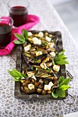Grilled aubergine salad with mint