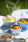 Apple and blackberry crumble, vanilla ice cream and coffee