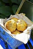 Cranberry muffins in a lunchbox