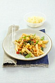 Penne with courgette, aubergines and tomatoes