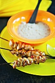 Chicken saté kebabs with chillis and a dip