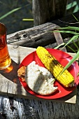 Grilled corn cons and flat bread