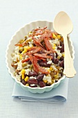 Risotto with sweetcorn, kidney beans, peas and fried ham