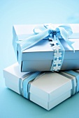 Gift boxes with blue bows