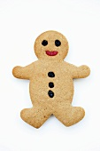 A gingerbread man decorated with raisins