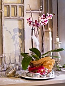 Christmas table decoration with an orchid