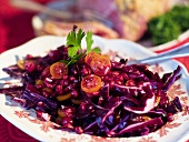 Red cabbage salad with pomegrate