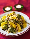 Soft wheat salad with Brussels sprouts, oranges and pine nuts