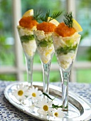 Potato and leek salad with caviar