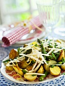 Fried potato and asparagus salad with Parmesan and lemon zest