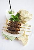 A lamb kebab with mint