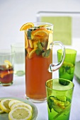 Pimms with lemons, oranges and mint