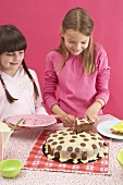 Two girls and a dotty cake