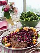 Meatloaf with red cabbage salad