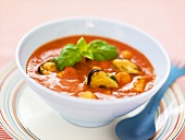 Tomato soup with mussels and salmon