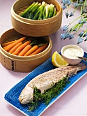 Salmon trout with steamed spring vegetables