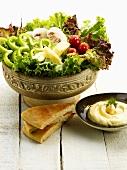 Salad, flatbread and hummus (Lebanon)