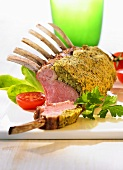 Lamb loin rack joint with a mustard crust