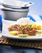Turkey steak with exotic fruits