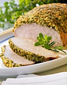 Saddle of pork with a herb crust