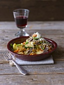 Buckwheat pasta with vegetables and Parmesan