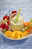 Mixed vegetables with a glass of herb dip