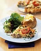 Potato & mushroom tart with baked potato and salad leaves