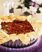 Pepper and mushroom tart with filo pastry