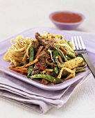 Stir-fried beef and vegetables with mie noodles