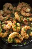 Marinated prawns with chilli and coriander leaves