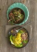 Bulgur salad with lamb chop, mango & cucumber salad with tuna