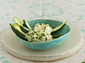Feta dip with pistachios on courgette sticks