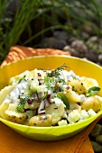 Potato salad with onions and herbs out of doors