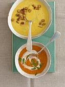 Almond & saffron soup and apricot & tomato soup