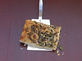 A piece of tray bake with pumpkin seeds & sunflower seeds