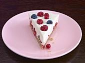 A piece of berry crème fraîche cake