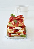 Strawberry lasagne made with sponge and soft cheese