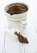 Melted chocolate in a piping bag
