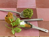 Spice pastes, fish sauce and coriander leaves