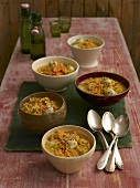 Lentil soup with poultry meatballs in five bowls