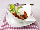 Marinated strawberries with soya yoghurt