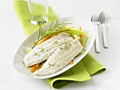 Charr fillets steamed with root vegetables