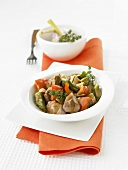 Lamb goulash with okra and peppers