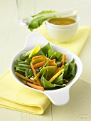 Pak choi salad with mango and carrot